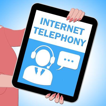 Internet Telephony Tablet Shows Voice Broadband 3d Illustration