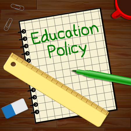 Education Policy Notebook Represents Schooling Procedure 3d Illustration
