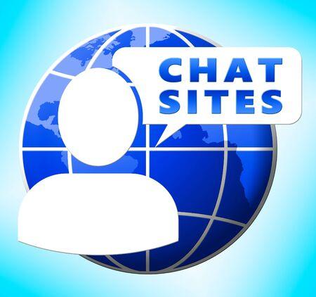 Chat Sites Logo Betekent Bespreking 3d Illustratie Stockfoto