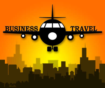 Business Travel Plane Meaning Corporate Tours 3d Illustration Stock Photo