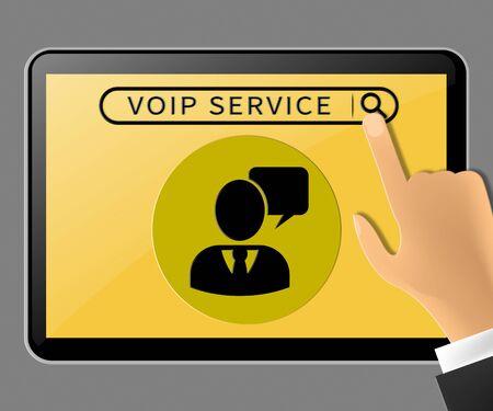 Voip Service Tablet Represents Internet Help 3d Illustration