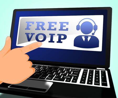Free Voip Laptop Shows Internet Voice 3d Illustration