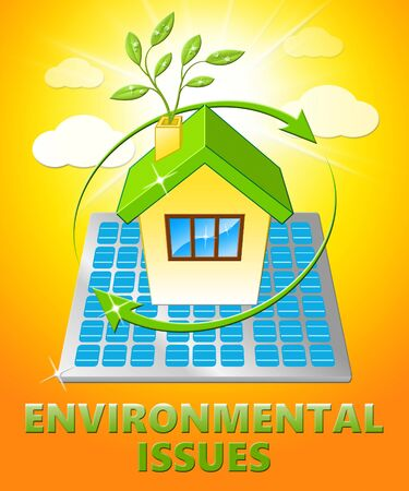 earth day: Environment Issues House Displays Nature 3d Illustration Stock Photo