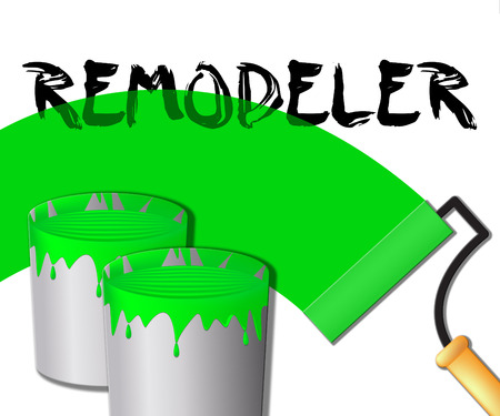 yourself: House Remodeler Paint Displays Remodeling House 3d Illustration Stock Photo
