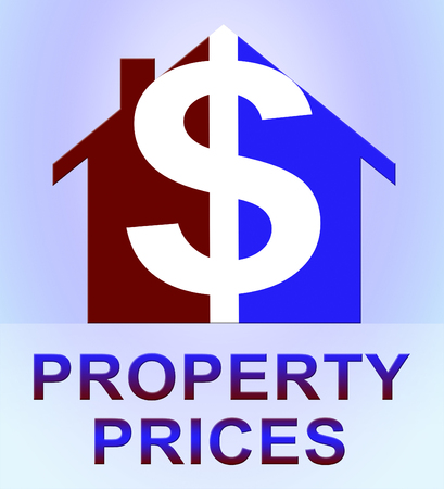 Property Prices Icons Represents House Cost 3d Illustration Stock Photo