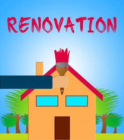 House Renovation Paintbrush Meaning Home Improvement 3d Illustration Stock Photo