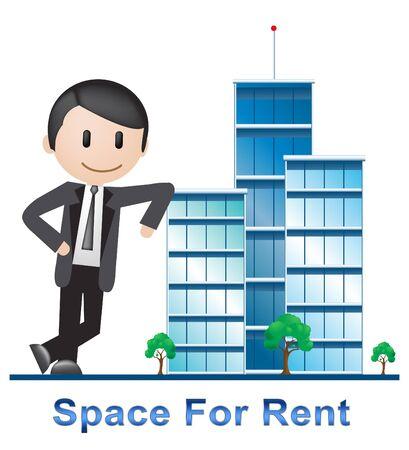 Space For Rent Buildings Describes Real Estate 3d Illustration