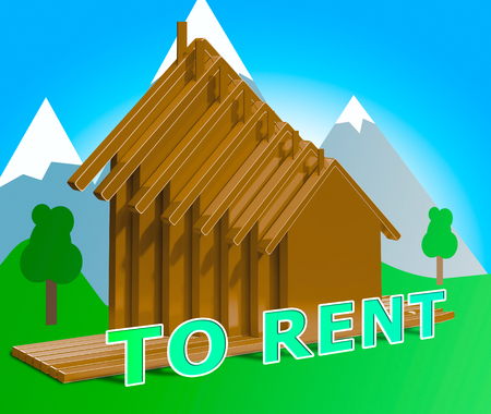 House To Rent Houses Meaning Property Rentals 3d Illustration Stock Photo