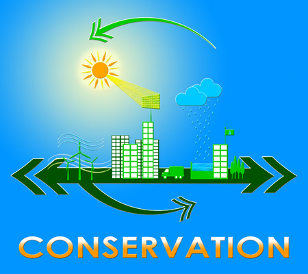 Conserve Town Showing Natural Preservation 3d Illustration
