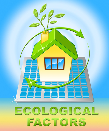 Ecological Factors House Displays Eco Points 3d Illustration