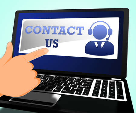 Contact Us Laptop Means Customer Service 3d Illustration Stock Photo