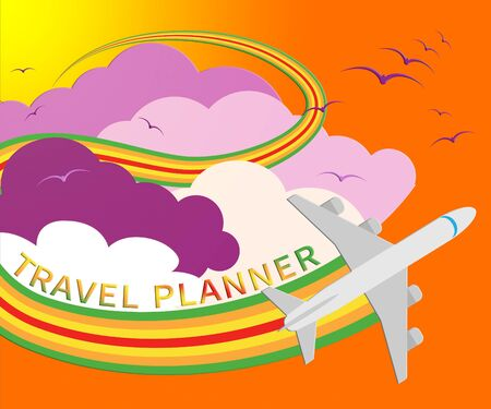 Travel Planner Plane Means Travelling Plans 3d Illustration Stock Photo