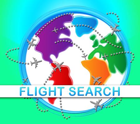 finding: Flight Search Globe Indicating Flights Finding 3d Illustration