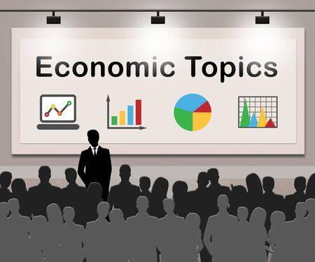 Economic Topics Meaning Economical Subjects 3d Illustration Reklamní fotografie