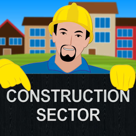 Construction Sector Shows Building Industry 3d Illustration Stock Photo