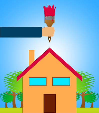 Home Decoration Paintbrush Shows House Painting 3d Illustration Stock Photo