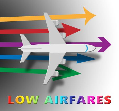 Lowest Airfares Plane Means Cheapest Flights 3d Illustration