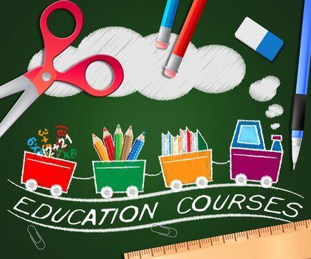 Education Courses Train Picture Shows Course 3d Illustration
