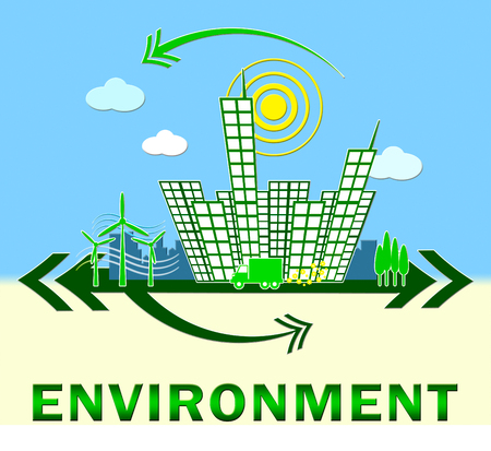 earth day: Environment Town Means Eco Friendly And Green 3d Illustration Stock Photo