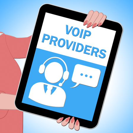 Voip Providers Tablet Shows Internet Voice 3d Illustration Reklamní fotografie
