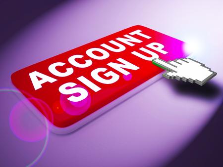 Account Sign Up Key Indicates Registration Membership 3d Rendering
