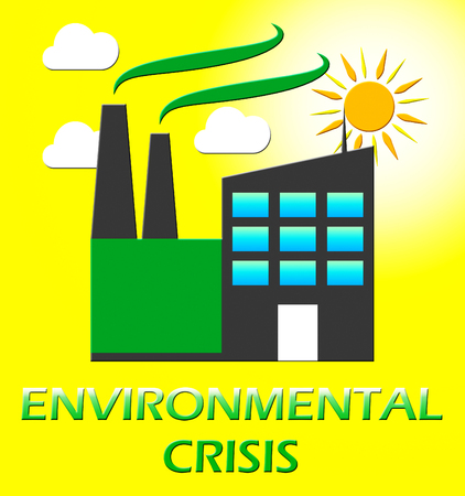 earth day: Environmental Crisis Factory Represents Eco Problems 3d Illustration