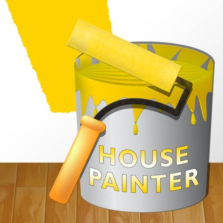 House Painter Paint Showing Home Painting 3d Illustration