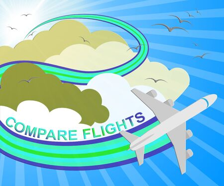Compare Flights Plane Showing Flight Search 3d Illustration Stock Photo