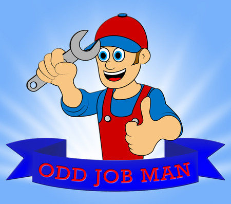 Odd Job Man Displaying House Repair 3d Illustration Stock Photo