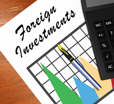 Inversión Extranjera Gráfico Significado Invertir En El Exterior  Ilustración 3d Photo
