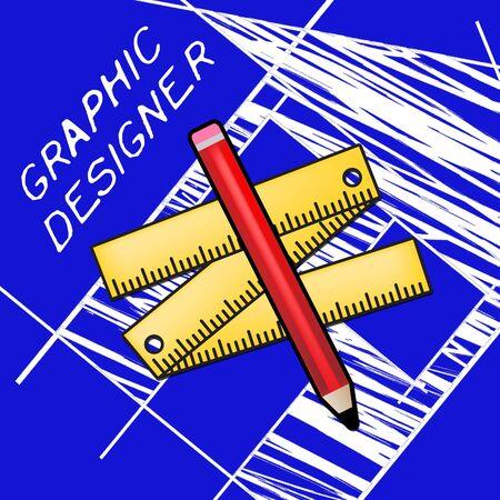 Grafische ontwerper apparatuur vertegenwoordigt het ontwerpen van 3D-illustratie van de baan