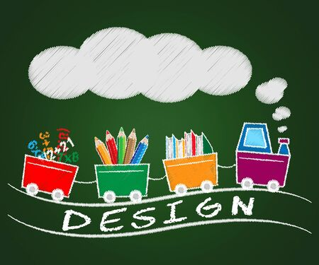 Creative Design Train Means Graphic Innovation 3d Illustration