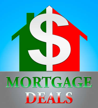 borrowing: Mortgage Deals Dollar Icon Representing Housing Discounts 3d Illustration