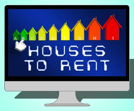 renting: Houses To Rent Laptop Representing Real Estate 3d Illustration Stock Photo
