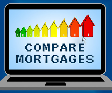 borrowing: Compare Mortgages Laptop Representing Home Loan 3d Illustration