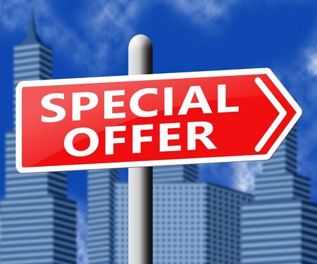 noteworthy: Special Offer Sign Representing Big Reductions 3d Illustration Stock Photo