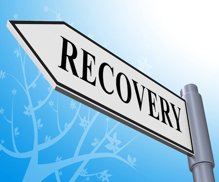 convalescence: Recovery Road Sign Representing Get Back 3d Illustration