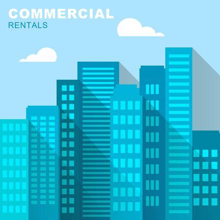 rentals: Commercial Rentals Downtown Describing Real Estate 3d Illustration