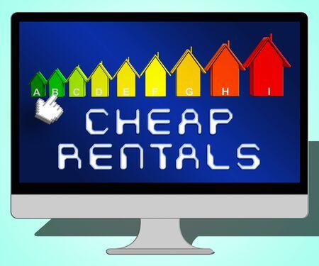 rentals: Cheap Rentals Laptop Representing Low Cost 3d Illustration Stock Photo