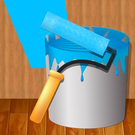 Yellow Paint Shows House Painting 3d Illustration