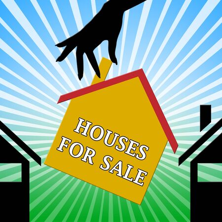 Houses For Sale Hand Means Sell House 3d Illustration Stock Photo