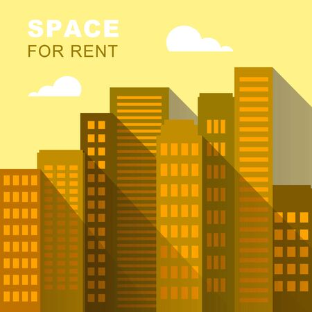 Space For Rent Downtown Describes Real Estate 3d Illustration
