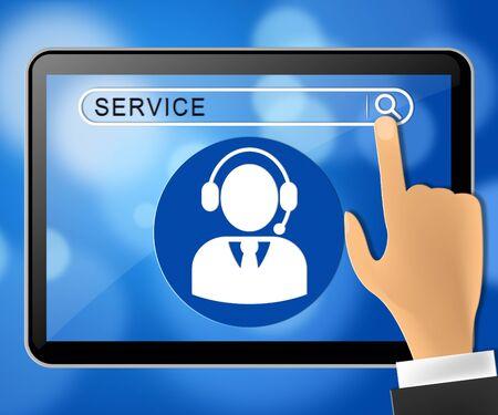inform information: Service Tablet Representing Help Support 3d Illustration
