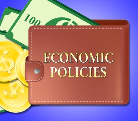 Economic Policies Wallet Meaning Economics Guide 3d Illustration
