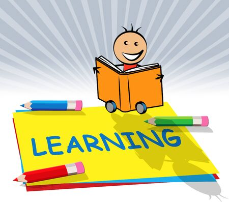 Learning Train Paper Displays Training And Academic 3d Illustration