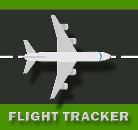Flug-Verfolger-Flugzeug bedeutet Illustration des Flugzeug-Status 3d