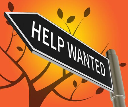 Help Wanted Road Sign Meaning Employment 3d Illustration
