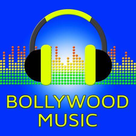 Bollywood Music Earphones Represents Indian Movie Industry Songs 3d Illustration Reklamní fotografie