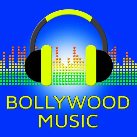 Bollywood Music Earphones Represents Indian Movie Industry Songs 3d Illustration Stock Photo