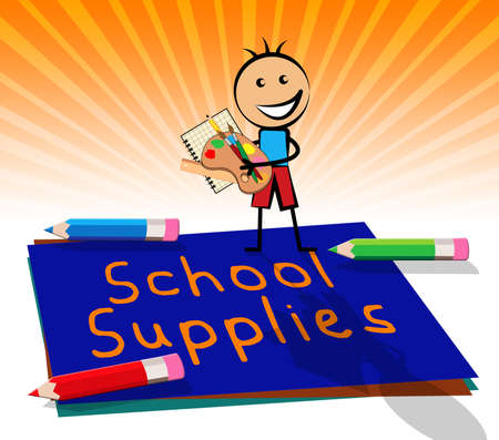 School Supplies Paper Displays Stationery Materials 3d Illustration Stock Photo